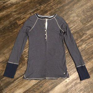 Navy Stripe Long Sleeve Button Down